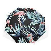 VAWA おりたたみ傘 軽量 手動開閉 おしゃれ かわいい フラミンゴ 鳥柄 葉柄 折り畳み傘 雨傘 レディース 晴雨兼用 8本骨 収納ケース付き
