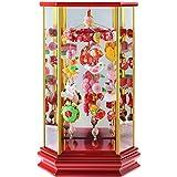 つるし雛 つるし飾り 雛人形 六角ケース飾り 桃花音 小サイズ 幅25.5cm×奥行17.5cm×高さ44cm 赤塗ケース