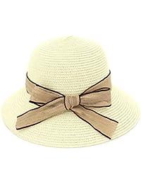 Yaojiaju 夏の麦わら帽子、エレガントなSunhatの夏の麦わら帽子、ちょう結びの飾り付きバケツハットビーチの帽子