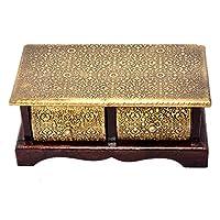 Eurasia ヴィンテージスタイル 木製装飾真鍮 FTDボックス 記念品ジュエリー 小物入れ 収納 オーガナイザー