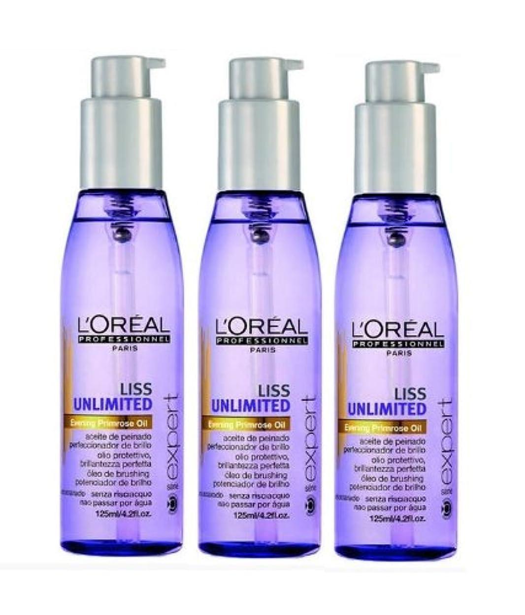 自分自身奨励キャンベラLoreal Liss Unlimited entspannendes Öl 3 x 125 ml Serie Expert Evening Primrose Oil Nachtkerzenöl