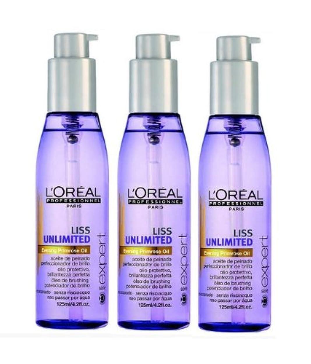 バラエティ対処スピリチュアルLoreal Liss Unlimited entspannendes Öl 3 x 125 ml Serie Expert Evening Primrose Oil Nachtkerzenöl