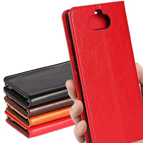 SONY Xperia 8 ケース SOV42 au/ワイモバイル/SIMフリー 対応 手帳型 エクスぺリア 8 カバー xperia8 ケース ソニー エクスぺリア8 手帳 スマホケース case iCoverCase シンプル レトロ スタンド機能 手作り 加工 牛革 スマホケース 財布型 携帯カバー カード入れ 耐久性 摩擦耐性 選べる4色 レッド