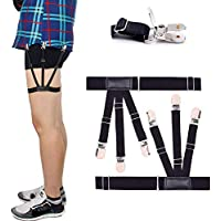 Mens Shirt Stays Adjustable Elastic Garter Military Shirts Holder with Non-Slip Locking Clamps (Black)