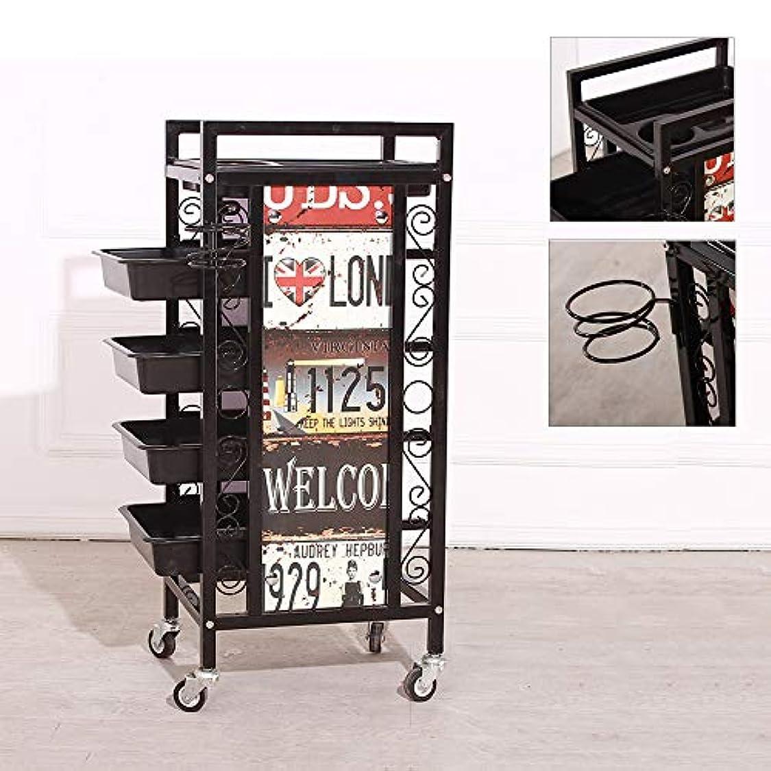 分布文献グラス美容院トロリービューティーサロントロリーヘアースタイリストのための多機能の欧州トロリー棚ヘアーサロン5レイヤツールカート機器メイクカート