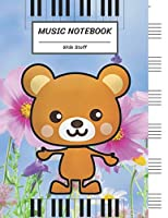 """Music Notebook Wide Staff: little Rat Mouse in the Flower Park,Piano Keyboard/Blank Music Sheet Notebook,Big Staff Paper,Music Manuscript Paper,6 Large Staves per page,8.5""""x11"""",100 Pages,For Boys,Girls, Kids, Beginners."""