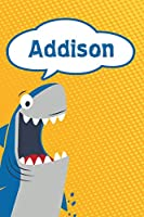 "Addison: Personalized Shark Draw and Write Diary journal log 120 pages 6""x9"""