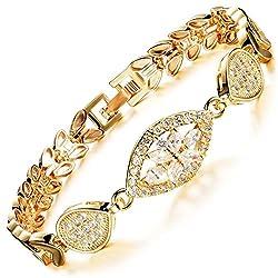 MAX World ブレスレット AAAクリスタル 18金 ゴールド フィルド ジュエリー バングル Czダイヤモンド 18K Gold Filled レディースブレスレット ゴールデン小麦 bracelet women