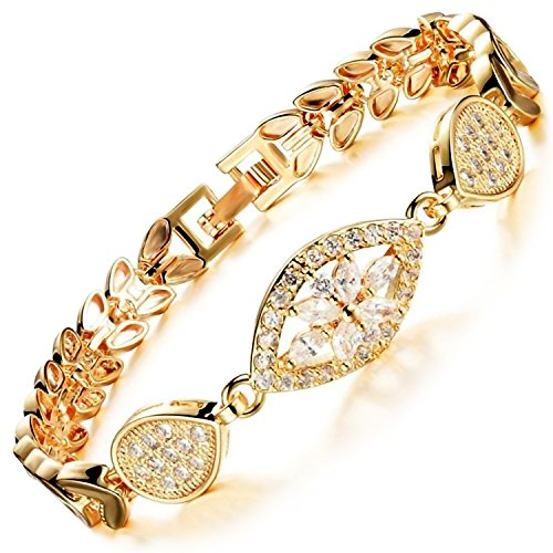 MAX World ブレスレット AAAクリスタル 18金メッキ ゴールド フィルド ジュエリー Czダイヤモンド 18K Gold Filled レディースブレスレット ゴールデン小麦 bracelet women