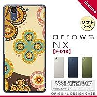 F01K スマホケース arrows NX F-01K カバー アローズ エヌエックス エスニック花柄 ベージュ×茶 nk-f01k-tp1583