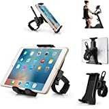 "Cycling Bike iPad/iPhone Mount, AboveTEK All-In-One Portable Compact Tablet Holder for Indoor Gym Handlebar on Exercise Bikes & Treadmills, Adjustable 360° Swivel Stand For 3.5-12"" Tablets/Cell Phones"