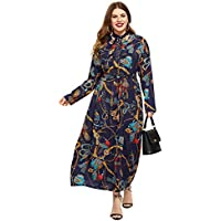 ROMWE Women's Plus Size Long Sleeve Belted Bow Tie Neck China Print Elegant Party Maxi Dress Multicolor#5 5XL