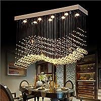 現代の透明ガラスクリスタルペンダントシャンデリア長方形レストランシャンデリアフラッシュマウントLED天井照明器具K9クローム仕上げガラスドロップレット