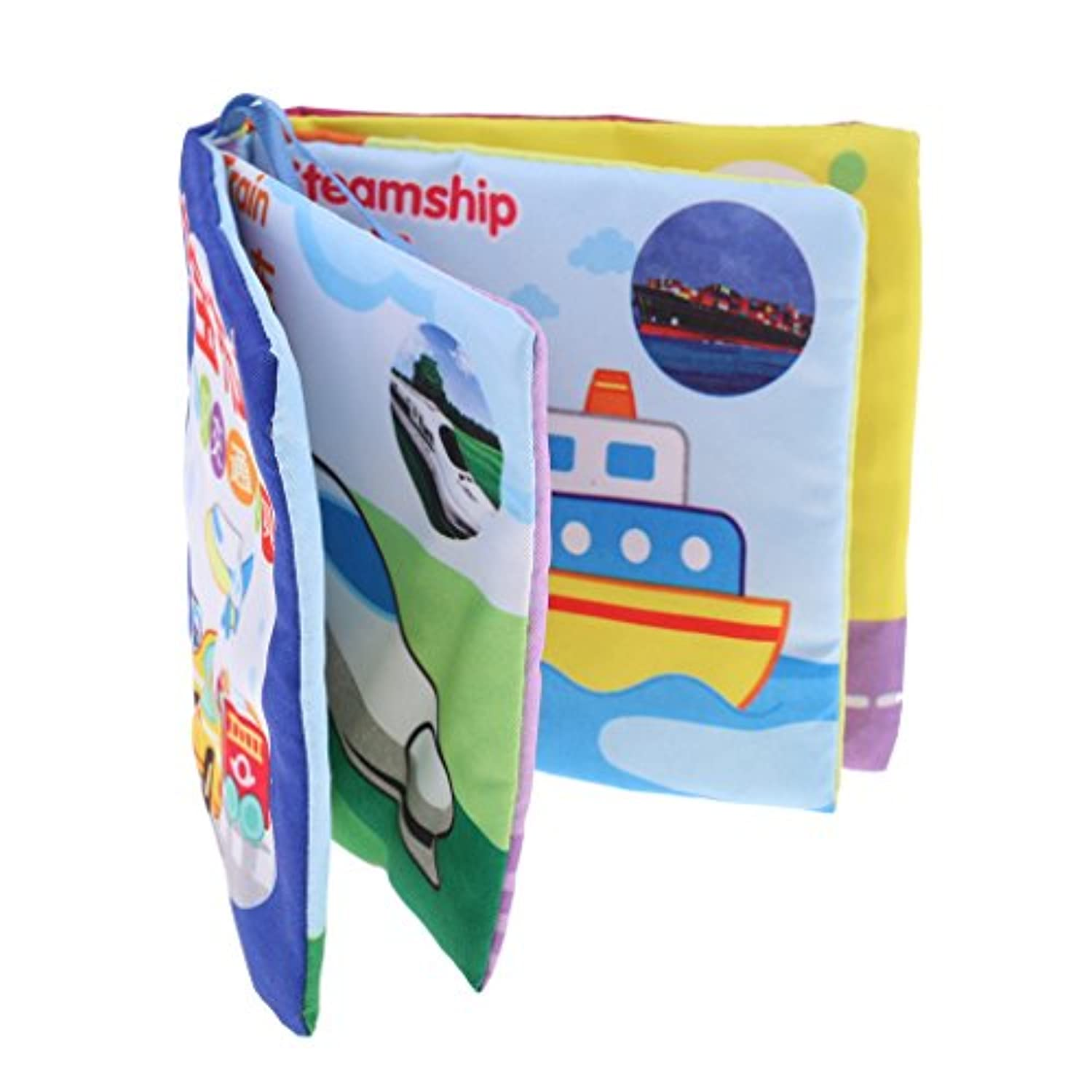 MonkeyJack 8 Pages Soft Cloth Cognize Durable Book Chinese English Colours Shapes Educational Toys for Baby Kids Development Traffic Tools
