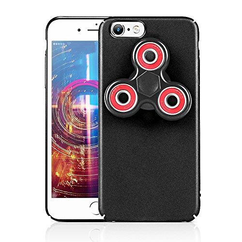 HAOCOOハンドスピナー iPhone 6 Plusケース Hand spinner iPhone Case 衝撃吸収バンパー 擦り傷防止 おしゃれ 高級感 ストレス解消 アイフォン 6 Plus用のハンドスピナーコンボケース (iPhone 6 Plus, ブラック)