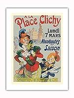 プレイスクリシーで - パリ、フランス - ニースの花束 - ビンテージな広告ポスター によって作成された レネ・ピエン c.1890s -プレミアム290gsmジークレーアートプリント - 46cm x 61cm