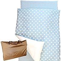 「 日本製 」 お昼寝布団セット 5点 シャボン玉ブルー ( 大きなdotと小さなdotのシンプルなデザイン )