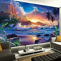 Ansyny ヨーロッパスタイルの3Dココナッツツリー海油絵壁画リビングルーム研究子供の寝室の背景壁写真壁紙3Dインテリア-260X175CM