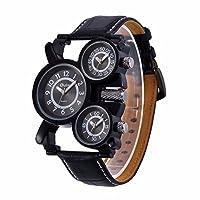 0d3e160550 メンズビッグフェイスUnique Military Watch – 3つブラックアナログダイヤル、日本クォーツ&