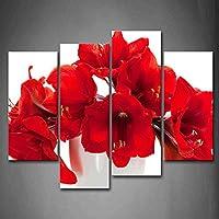 最初壁アート–Some美しい花で明るい赤壁アート絵画プリントキャンバスの花の絵ホーム装飾ギフト 12x26inchx2Panel,12x35inchx2Panel 8221578F