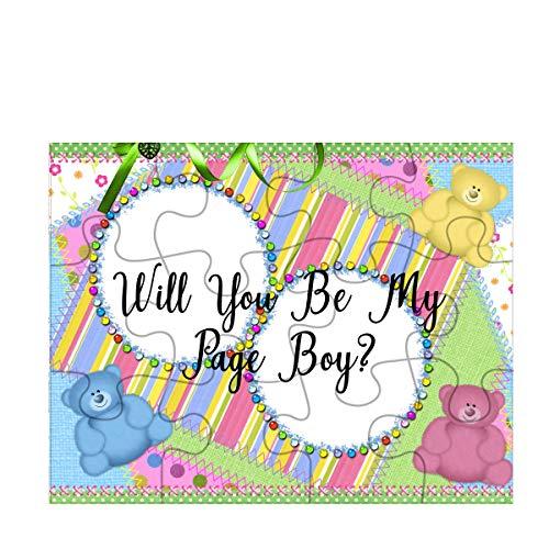 ジグソーパズルWill You Be My Page Boy? TYD Designs カラフルなテディベアの背景 12ピース