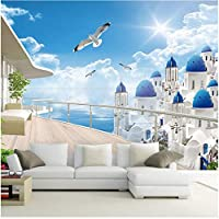 Xbwy カスタム3D壁画壁紙用壁ヨーロッパシーサイドタウンバルコニー拡張スペースわら壁カバー用リビングルームの家の装飾-280X200Cm