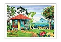 海の家 - ハワイ - ハワイ諸島 - トロピカルパラダイス - オリジナルの水彩画からのもの によって作成された ロビン アルトマン - アートポスター - 76cm x 112cm