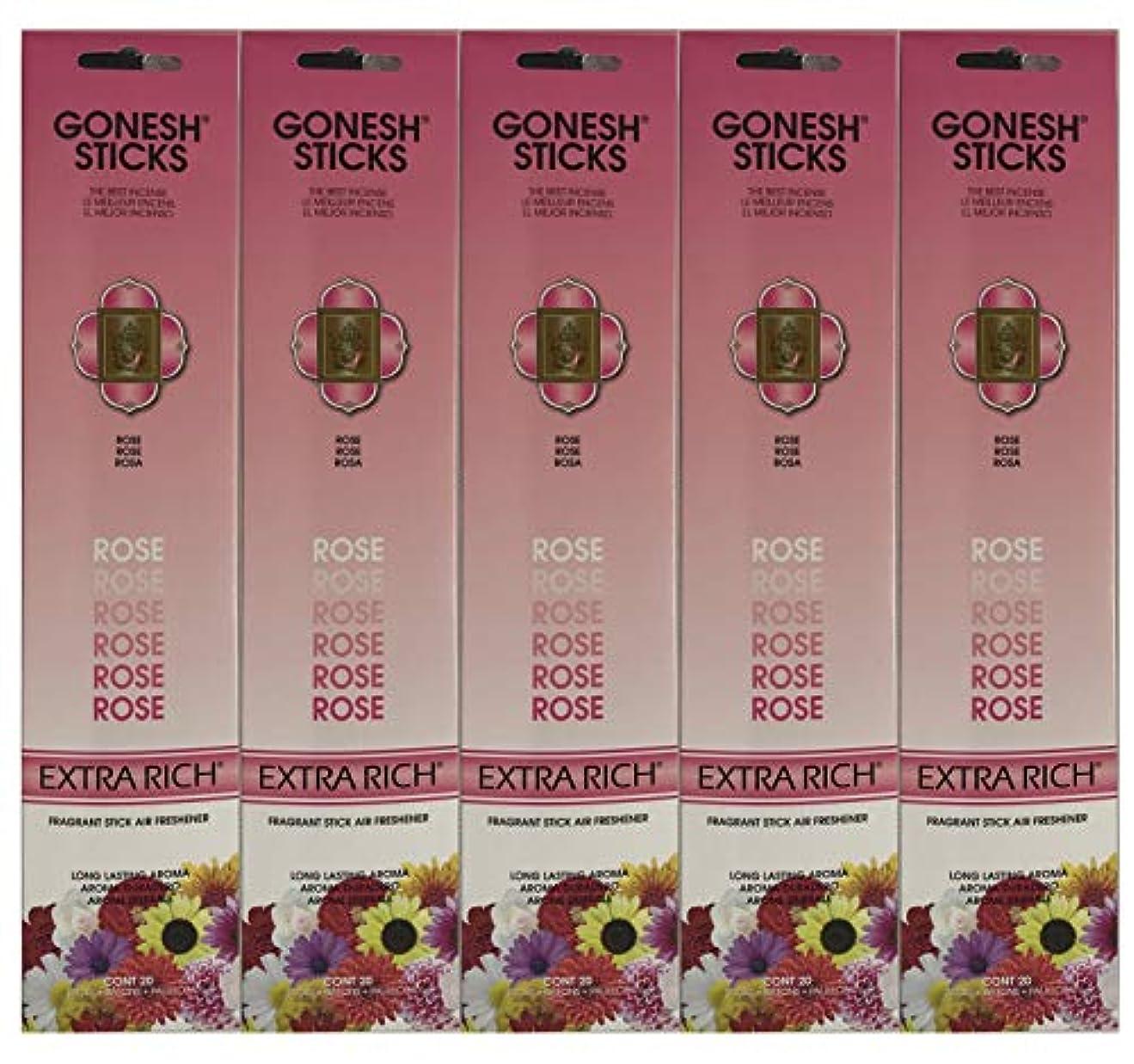 Gonesh Incense Sticks Extra Richコレクション – ローズ5パック(合計100 )