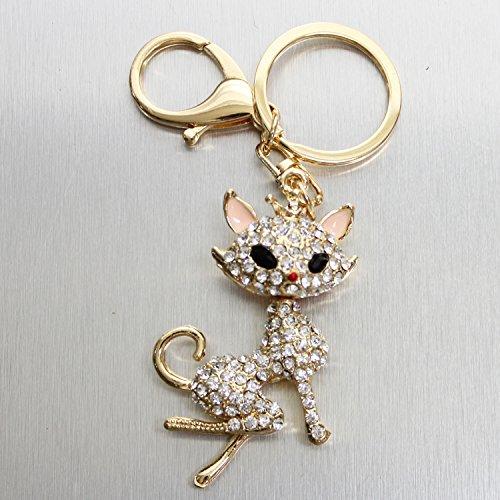 バッグチャーム キーホルダー ラインストーン クリスタル スワロフスキー幸運 猫