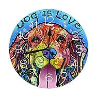 掛け時計 ウォールクロック 犬は愛です 連続秒針 静音 壁掛け時計 部屋装飾 アナログ クロック インテリア