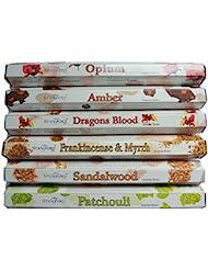 Stamford Hex範囲Incense Sticks – Opium、アンバー、ドラゴンブラッド、Frankincense & Myrrh、サンダルウッド&パチョリ20 Sticks per fragrance (...