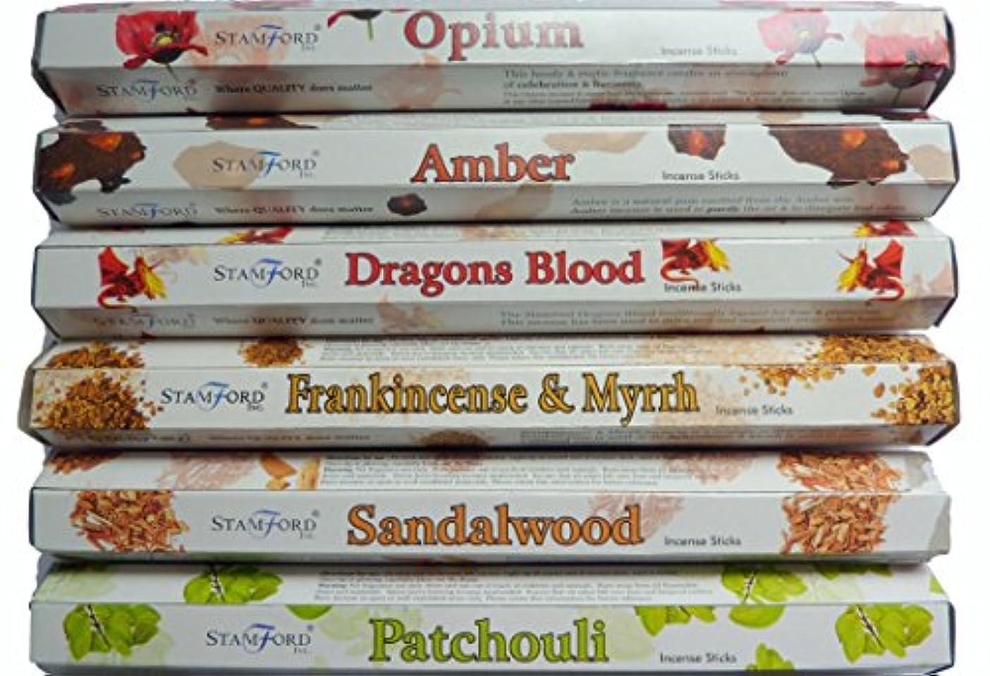 横たわる迫害する関係するStamford Hex範囲Incense Sticks – Opium、アンバー、ドラゴンブラッド、Frankincense & Myrrh、サンダルウッド&パチョリ20 Sticks per fragrance ( 120 Sticks )