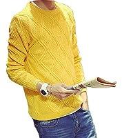 Spinas(スピナス) メンズ 秋 冬 ひし形 模様編み 無地 クルーネック セーター スリム トップス アラン ニット 全5色 (ホワイト、ブラック、ブルー、ボルドー、イエロー) (XL, イエロー)