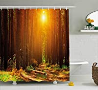 (180cm W By 210cm L, Multi 15) - Landscape Shower Curtain by Ambesonne, Sunset Dawn Sun Rise Beams in Forest Tree Nature Plants Print Image, Fabric Bathroom Decor Set with Hooks, 210cm Extra Long, Earth Yellow Dark Orange