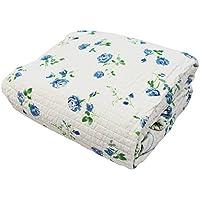 綿100% 水洗い ガーゼ ベッドシーツ ベッドパッド 一体型 小花 ローズ シングルサイズ T431544-A303
