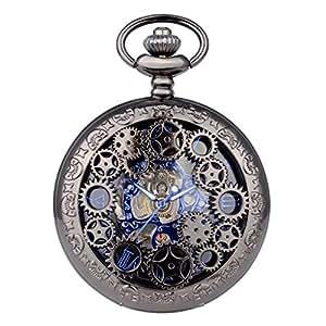 WOLFTEETH 機械式 手巻き 懐中時計 ポケットウォッチ 両面スケルトン ローマ数字 アンティーク チェーン付き 時計