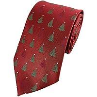 Mens Christmas Tree Print Pattern Holiday Christmas Neckties Tie Woven Neck Tie