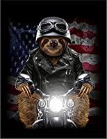 【FOX REPUBLIC】【バイク に乗る ナマケモノ 星条旗】 黒マット紙(フレーム無し)A4サイズ