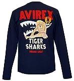 (アビレックス) AVIREX コットン クルーネック ロンT ミリタリー ピンナップ ガール TIGER SHARKS (L, ネイビー)