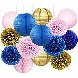 海軍ゴールドピンクブライダルシャワーDecorations furuix 14pcsネイビーゴールドピンクティッシュペーパーポンポン付き提灯ハニカムボールネイビーブルー誕生日パーティー、ネイビーピンクベビーシャワーの装飾