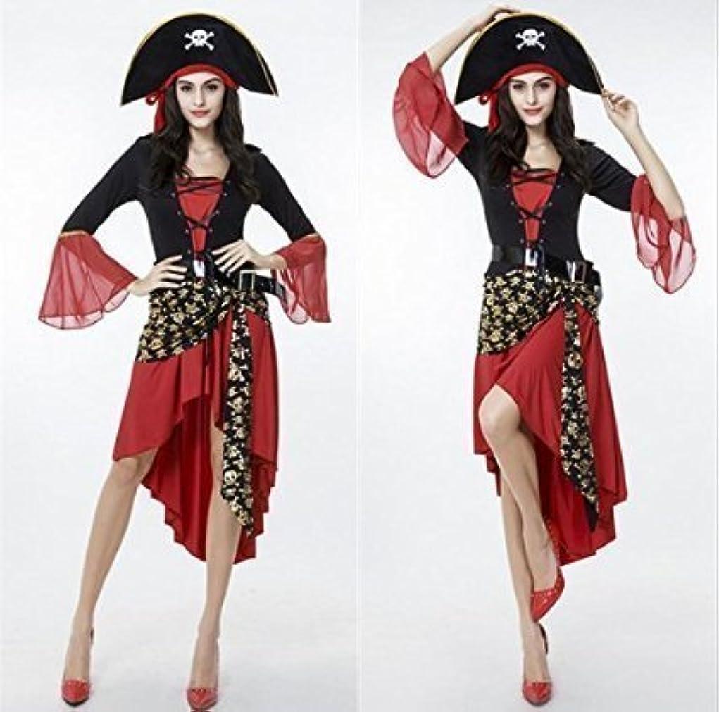 接続詞受益者唯一Angel Heart(G&J) パイレーツオブカリビアン 衣装 海賊 コスチューム 赤×黒 パイレーツ コスプレ レディース ハロウィン コスプレ (XL)