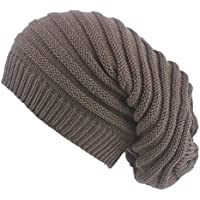 Lingdong Winter Knit Slouchy Beanie Hats Oversized Warm Lined Strip Hats for Women