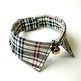 バーバリー 犬猫用首輪 バーバリーチェック 襟つきカラー 鈴付 ハンドメイド (M:22〜28cm)