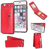 GR IPhone 6プラスケース用バックカバー、IPhone 6sプラスカード用縦置きフリップレザージッパーウォレット (Color : 赤)