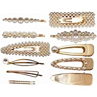 TOOGOO 12Pcs Elegant Hairpins Hair Accessory For Girls Women Lady Bridal Weeding White Pearl Jewelry Flower Hair Clips Pins Barrettes (Gold Hair Clips)