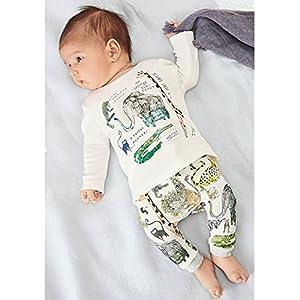 ベビー 子供服 綿 長袖 Tシャツ ロングパンツ 動物プリント 2点セット 超柔らかい 可愛い 女の子 男の子 出産祝い 普段着 パジャマ (90)