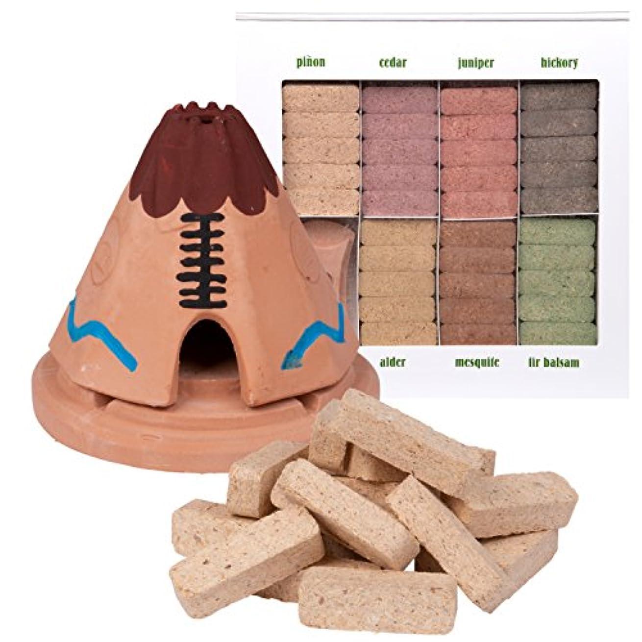 薄い司令官スペイン語Incienso de Santa Fe Teepee Burner With松の天然木製お香と7香りSampler – Made in the US