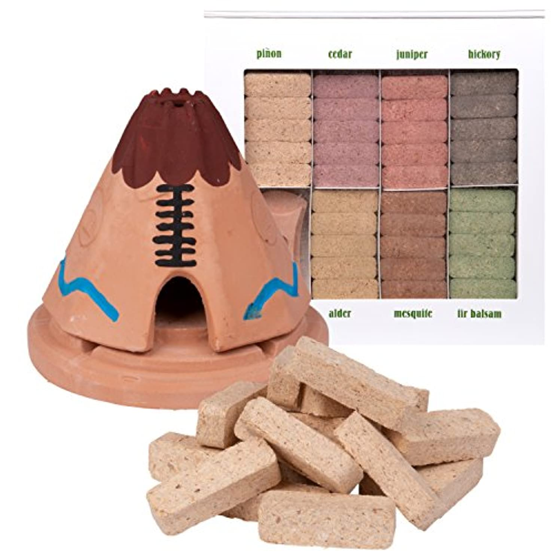 周波数トレイ凍るIncienso de Santa Fe Teepee Burner With松の天然木製お香と7香りSampler – Made in the US