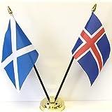 emblems-giftsスコットランド&アイスランドダブルFriendshipテーブルフラグセット+ベース