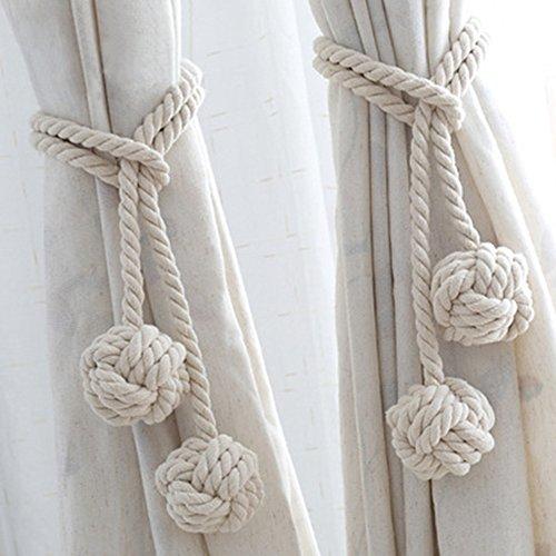 Simple Life ロープ式 カーテンタッセル 二つボール付き カーテン留め飾り カーテンアクセサリー ロープタッセル 紐締め 綿ロープ カーテンバックル おしゃれ カーテンストラップ 10色選べる 2個セット (ベージュ)